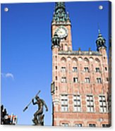 Town Hall And Neptune Fountain In Gdansk Acrylic Print