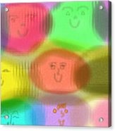 Toy Faces Acrylic Print by Rosana Ortiz