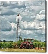 Tractor And Old Windmill Acrylic Print