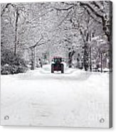 Tractor Driving Down A Snow Covered Road Acrylic Print