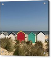 Traditional Beach Huts In The Sand Acrylic Print