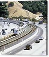 Train And Motorway, California, Usa Acrylic Print by Martin Bond