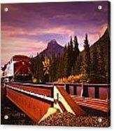 Train Going Over A Bridge Banff Acrylic Print