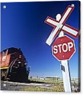 Train Passing Railway Crossing Acrylic Print