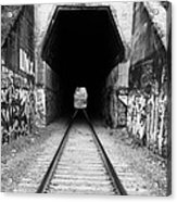 Train Tunnel At The Muir Trestle In Martinez California . 7d10235 . Black And White Acrylic Print