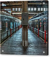 Trains - Two Rail Cars In Roundhouse Acrylic Print