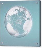 Transparent Globe Displaying Three Continents Acrylic Print