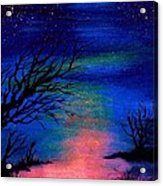 Trees At Night Acrylic Print