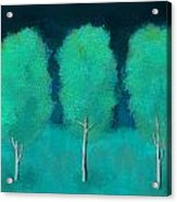 Trees In Triplicate Moonlit Winter Acrylic Print by Robin Lewis