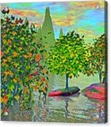 Trees On Rocks In A Lake Acrylic Print