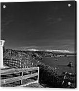 Trinidad Memorial Lighthouse In Black And White Acrylic Print