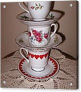 Trio Of Valentine Tea Cups  Acrylic Print