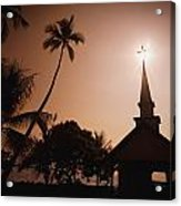 Tropical Church In Silhouette Acrylic Print