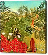 Tropical Jungle By Henri Rousseau Acrylic Print by Pg Reproductions