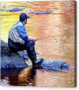 Trout Fisherman In Autumn Acrylic Print