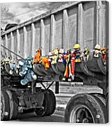 Truck And Dolls With Selective Coloring Acrylic Print