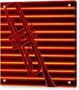 Trumpet And Red Neon Acrylic Print by Garry Gay