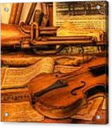 Trumpet And Stradivarius At Rest - Violin - Nostalgia - Vintage - Music -instruments  Acrylic Print by Lee Dos Santos