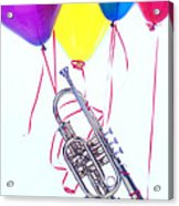 Trumpet Lifted By Balloons Acrylic Print by Garry Gay
