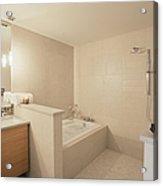 Tub And Shower In Bathroom Acrylic Print