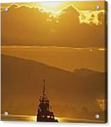 Tugboat At Sunrise, Burrard Inlet Acrylic Print by Ron Watts