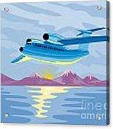 Turbo Jet Plane Retro Acrylic Print by Aloysius Patrimonio