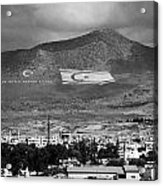 Turkish Symbols And Turkish Cypriot Flags In Besparnak Mountain Overlooking Nicosia Cyprus Acrylic Print