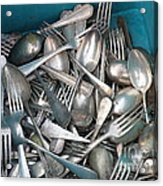 Turquoise Box Of Silverware Acrylic Print