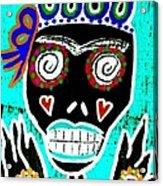 Turquoise Queen Sugar Skull Angel Acrylic Print