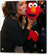 Tv Host Oprah Winfrey And Friend Elmo Acrylic Print