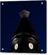 Twilight View Of Clock At Clarksville Historic Courthouse  Acrylic Print