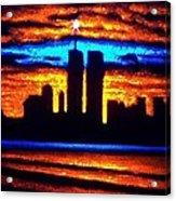 Twin Towers In Black Light Acrylic Print