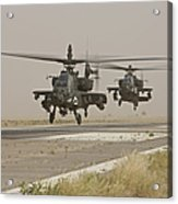 Two Ah-64 Apache Helicopters Prepare Acrylic Print