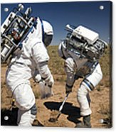 Two Astronauts Collect Soil Samples Acrylic Print by Stocktrek Images