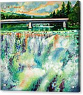 Two Bridges And A Falls 2          Acrylic Print