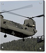 Two Ch-47 Chinook Helicopters In Flight Acrylic Print