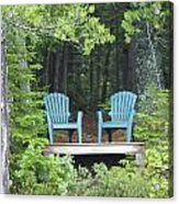 Two Chairs Sit At A Lakeside Camp Acrylic Print