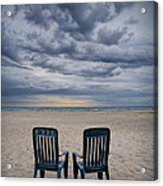 Two Deck Chairs At Sunrise On The Beach Acrylic Print