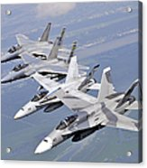 Two Fa-18 Hornets And Two F-15 Strike Acrylic Print