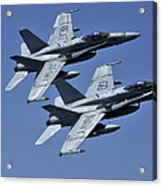 Two Fa-18c Hornets In Flight Acrylic Print