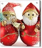 Two Father Christmas Decorations Acrylic Print
