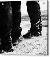 two hikers hillwalkers in the highlands of Scotland UK Acrylic Print