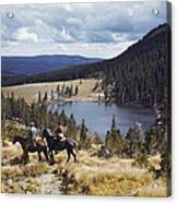 Two Horsemen Ride Above Pecos Baldy Acrylic Print