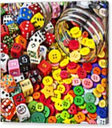 Two Jars Dice And Buttons Acrylic Print