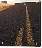 Two Lane Road Between Fields Acrylic Print