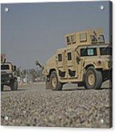 Two M1114 Humvee Vehicles At Camp Taji Acrylic Print