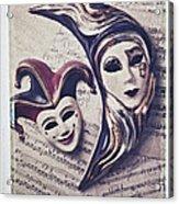 Two Masks On Sheet Music Acrylic Print