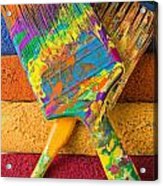 Two Paintbrushes On Paint Rollers Acrylic Print