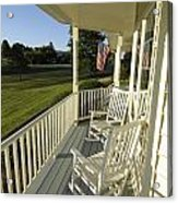 Two Rocking Chairs On A Sunlit Porch Acrylic Print by Scott Sroka