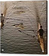 Two Rowers Paddle Down The Charles Acrylic Print by Tim Laman